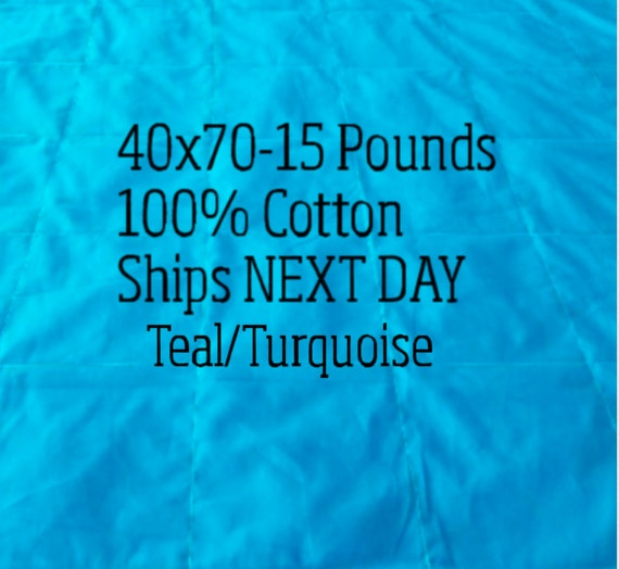 Weighted Blanket, 15 Pound, Teal, Turquoise, 40x70, READY TO SHIP, Twin Size, Adult Weighted Blanket, Next Business Day To Ship