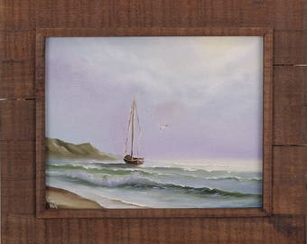 Framed Sailboat Painting, Coastal Landscape, Boat, Ship Painting, Fine Art, Ocean Art, Seascape, Framed Art, Original Oil Painting