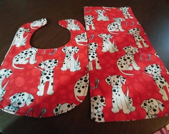 Dalmations bib and burp cloth set.