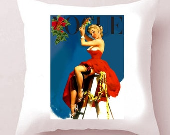 CHRISTMAS! White Satin Vogue Pin-Up Cushion - 'Cindy'