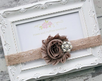 Taupe Baby Headband, Baby Girl Headband, Newborn Headband, Flower Girl Headband, Baby Photo Prop, Infant Headband, Toddler Headband, Babtism