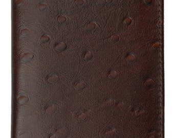New Genuine Leather Checkbook Cover Case Ostrich Pattern Tan And Burgundy 156 OS
