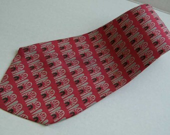 "1950s Abstract Design Mens Silk Tie Necktie On 1970s 4"" Wide Vintage Tie Red Black Gray Short 51"" Length"