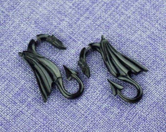 "Fake Gauge Earrings, ""Flying Dragon"" Horn, Naturally Organic, Hand Carved, Tribal"