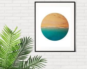 SALE !! Printable Beach Art, Beach Printable, Ocean Wall Art, Printable Wall Art, Tropical Print, Beach Poster, Digital Art, Circle Wall Art