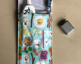 Kawaii Cotton Fabric toothbrush / toothpaste travel pouch floss pocket / toiletries travel bag Dentist Hygienist Gift