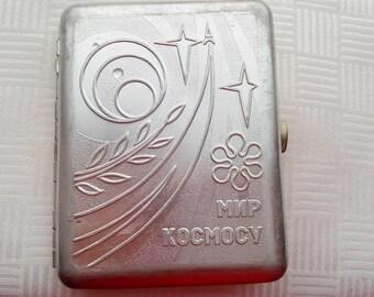 Soviet Cigarette Case, SPACE, Cigarette Case USSR. Cigarette Box. Holder Metal Wallet.