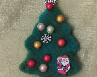 Woolen flower brooch, Christmas tree  felted brooch, Christmas tree brooch, brooch felted brooch