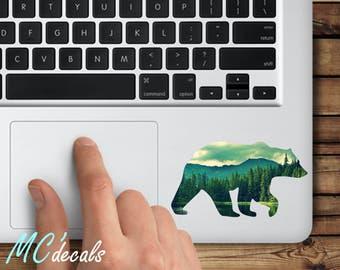 Macbook sticker bear mac decal macbook pro color vinyl sticker macbook air mandala c005