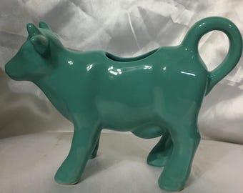 Ceramic Teal Milk Cow Creamer Food Network