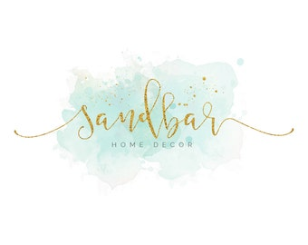 Pre made Watercolour Green Blue Logo Design - Business Branding - Logo Design - Boutique - Photography - Beach - Home Decor - Hair Dresser