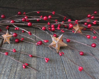 5 Feet Red Primtive Wispy Mixed Pip Berry Garland with Rusty Stars 60 inches Perfect for the Holidays