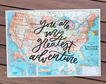 "You Are My Greatest Adventure - 20x28"" vintage hand-lettered us map// hand lettered map, usa map, vintage map, modern farmhouse"