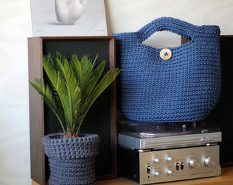 Ink Blue Crocheted ToTe Bag