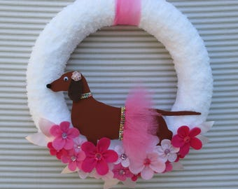Dachshund Wreath, Weiner Dog Wreath, Dog Wreath, Puppy Wreath, Tutu Wreath, Ballerina Wreath, Felt Flower Wreath, Pink Dog Wreath