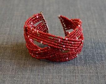 Red Structured Wire Cuff Bracelet