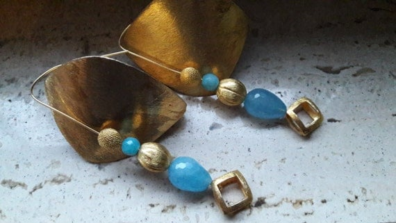 Gold-plated silver earrings (chalcedony agate)