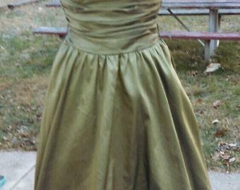 Vintage 80s iridescent taffeta strapless bubble dress