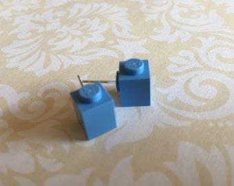 """""""Blue denim"""" rectangle earrings"""