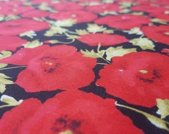 Printed Cotton Poplin Fabric - Red Poppies on Black