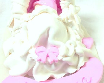 Deco table/baptism/baby fact-fimo-girl hand/bassinet/Pink/White/baby shower decoration/cake topper/custom/newborn baby/birth
