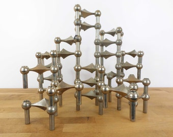 Candlestick 24 Nagel nails - 24 Piece Modular Candelabra by Caesar Stoffi and Fritz Nagel