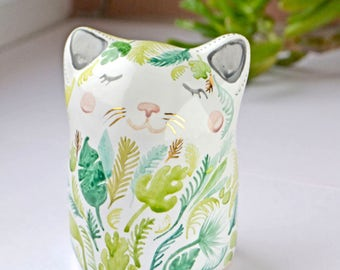 Cat Totem Rainforest Cute Ceramic Handmade Handcrafted Decorate with Genuine Gold