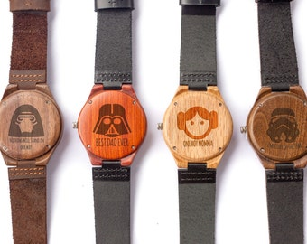 Star Wars, Dad Gifts, Wooden Watches, Gift for Him, Family Gifts, Father's Day, kylo Ren, leia, Darth Vadar, Storm Trooper, Wedding Gift