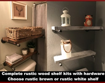 Rustic Shelf, Rustic Wood Shelf, Rustic Wooden Shelf, Rustic Wall Shelf, Rustic Floating Shelf, Rustic Pipe Shelf, Industrial Shelf