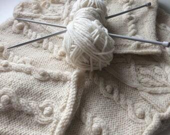 Cream hand knit Aran jumper