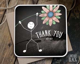 Thank you card / Friend thank you card / Thanks card / Flower card / SM43