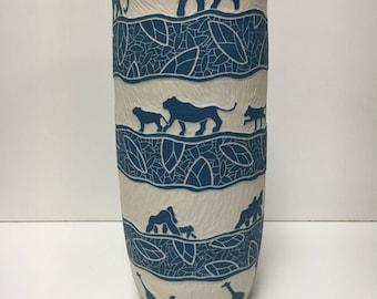 "Blue Animal Kingdom Vase 12"""