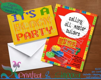 Building Blocks Invitation; Folded Card; Postcard; PDF; E-Card