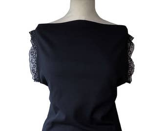 Retro top mesh and lace black Chika