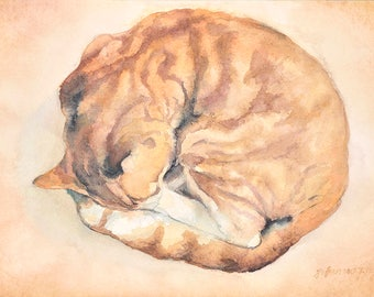 Cat No14 family water color