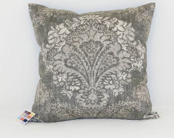 Gray Pillow Cover with Center Medallion in Shades of Gray and White, Hamilton Grey Pillow Cover With Zipper Closure