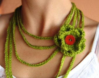 Gentle Green Crochet Necklace with Flower in lime grass green cotton with flower.. button