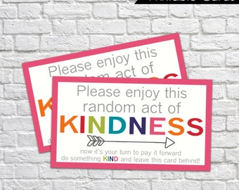 Printable Random Act of Kindness Cards, RAOK, Pay It Forward, DIY Printable, Calling Cards