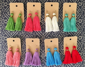 Tassel Earrings with Gold Accents