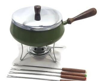 Vintage Olive Green Fondue Pot w/ 4 Forks- Color Code Forks- Metal Fondue Pot- With Stand and Burner- Wood Handle Fondue Pot- MCM Kitchen