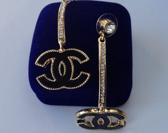 Chanel Inspired Gold and Black Drop CC Earrings