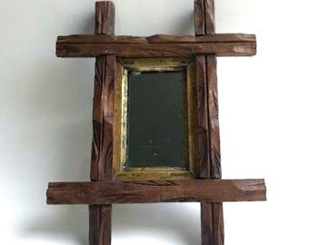 Wooden Tramp Art Picture Frame with Mirror