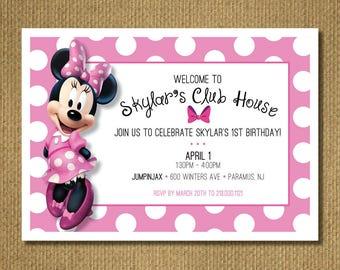 PRINTABLE | Minnie 1st Birthday Invitation