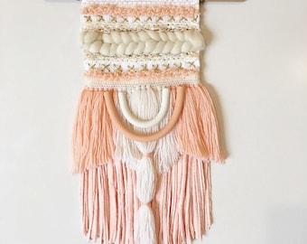 Pastel peach scandi weave with genuine pearls