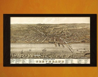 FINE ART REPRODUCTION Quality Print Birdseye View Old Cleveland Map Ohio 1877  Antique Map Retro Poster Old    Vintage