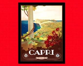 Capri Travel Print 1930s Italy Travel Poster   Travel  Art Travel    Italian Hostel