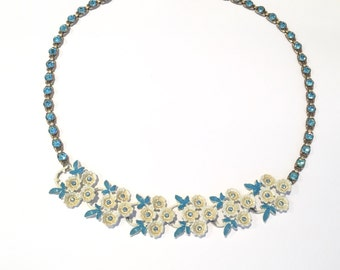 Vintage White and Blue Flowers Rhinestone Necklace From The 1950s