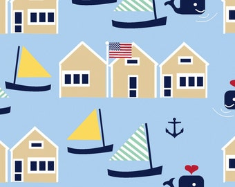 Oh Say Can You Sea in Marina by Jack and Lulu for Dear Stella- 1/2 Yard