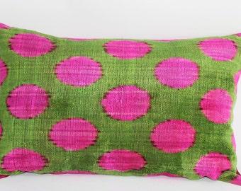 Ikat Pillow Case -14.5''x 22.5''Decorative Pillows For Couch Sofa Pillows Lumbar Pillow Decorative Cushion Modern Pillow Cover, Green,Yellow