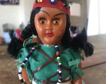 Native American Doll, 1960s doll,  American Indian doll,  squaw,brown skinned doll,souvenir doll, kitsch doll, papoose, Hiawatha